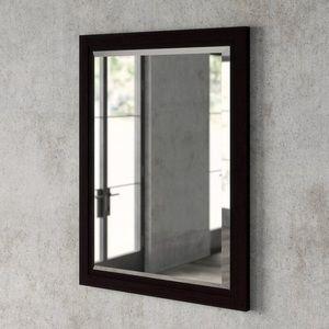 Dark Brown Framed Large Modern Accent Mirror